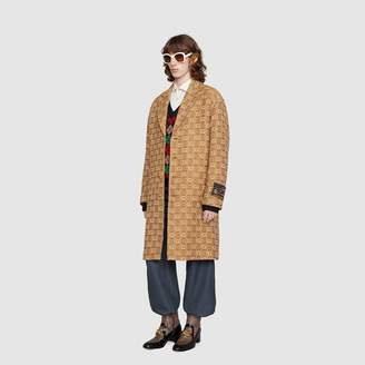 Gucci Textured G wool coat with label