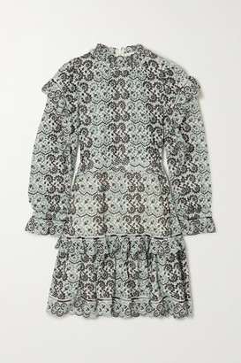 Sea Aurelia Ruffled Broderie Anglaise Cotton Mini Dress - Sky blue