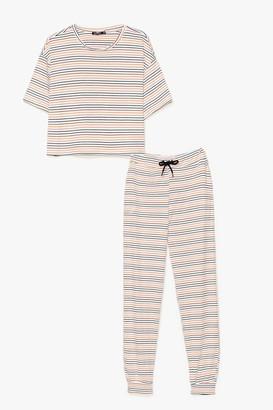 Nasty Gal Womens Stop Stripe There Ribbed Joggers Pyjama Set - White - 6