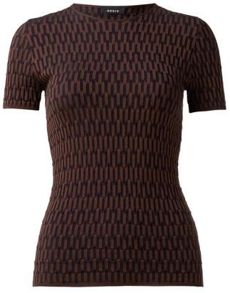 Akris Graphic Silk & Wool Knit Short-Sleeve Top