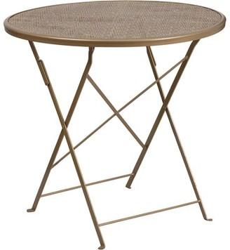 Latitude Run Fayha Folding Steel Bistro Table Color: Gold