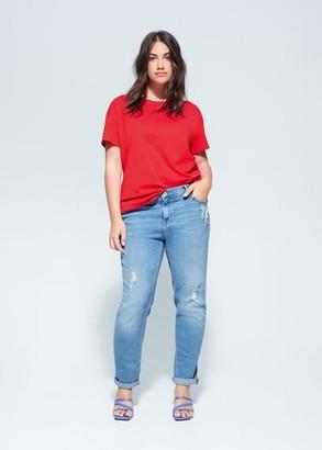 MANGO Violeta BY Organic cotton essential t-shirt off white - S - Plus sizes