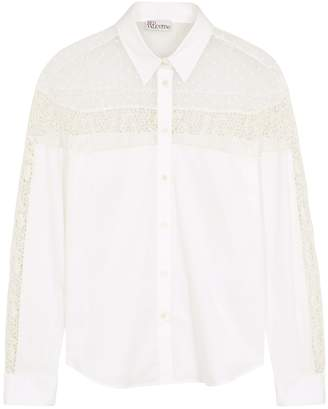 RED Valentino White Lace-panelled Cotton-blend Shirt