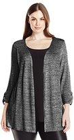 Star Vixen Women's Plus-Size Long Sleeve Sweater with Lightweight Knit Inset