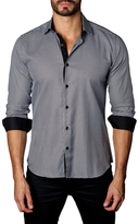 Jared Lang Houndstooth Cotton Button-Down Sportshirt