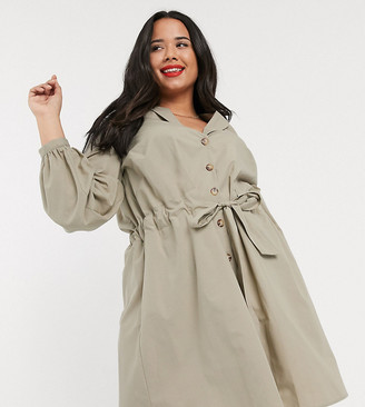Asos DESIGN Curve button through mini cotton shirt dress with ruched waist