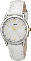 Timex Women's T2P1209J Silver-Tone Watch with White Leather Band