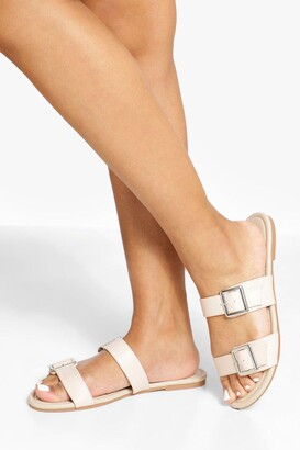 boohoo Wide Fit Double Buckle Detail Sandals