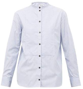 Cefinn - Mandarin-collar Striped Cotton-poplin Shirt - Womens - Blue White