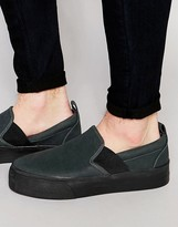 ASOS BRAND ASOS Slip On Sneakers in Black With Elastic and Thick Sole