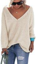 Moonpin Women's Long Sleeve Fall Winter Sweater V-neck Locker Mode Cardigan 3XL