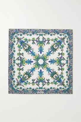 Givenchy Floral-print Silk-twill Scarf - Blue