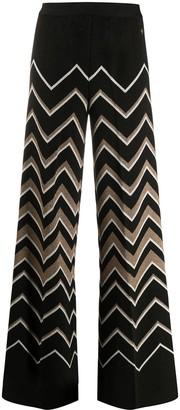 Twin-Set Zigzag Knit Palazzo Trousers