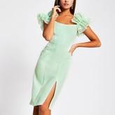 River Island Womens Green ruffle sleeve bodycon midi dress
