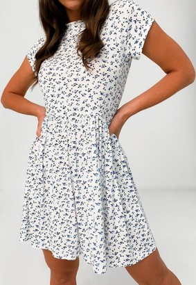 Missguided Blue Ditsy Floral Short Sleeve Smock Dress