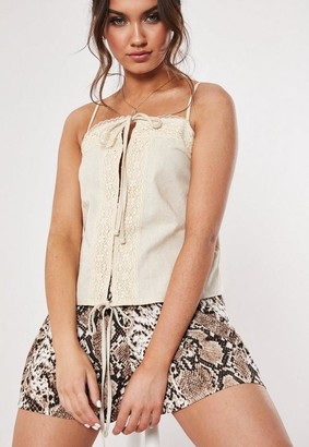 Missguided Cream Linen Look Lace Trim Hook And Eye Cami Top