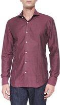Bogosse Solid Jacquard Woven Sport Shirt, Wine