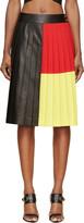 Fausto Puglisi Black Colorblocked Pleated Leather Skirt