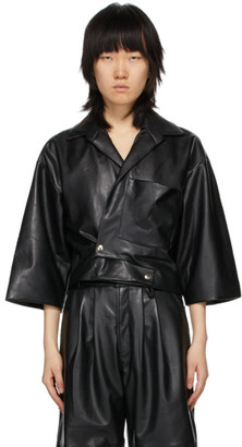 Markoo SSENSE Exclusive Black Faux-Leather The Cropped Snap-Front Shirt