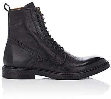 Barneys New York Men's Washed Leather Boots - Black