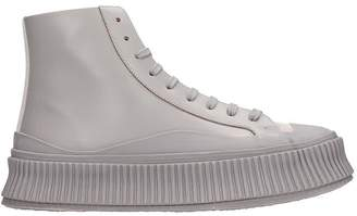 Jil Sander Sneakers In Grey Suede And Leather