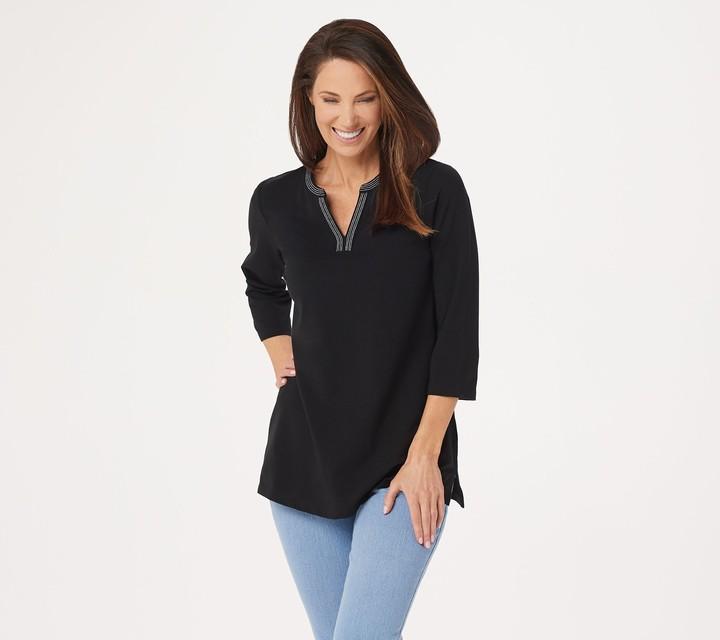 Denim & Co. Essentials Petite Perfect Jersey 3/4Sleeve Tunic