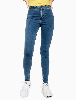 Topshop Joni Super High Waisted Power Stretch Mid Blue Skinny Jeans