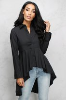 Rare Black Dip Hem Shirt Dress