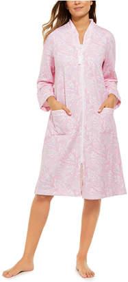 Miss Elaine Women Printed French Terry Zipper Robe
