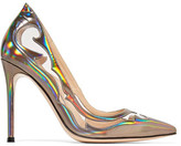 Gianvito Rossi Pvc-Trimmed Metallic Leather Pumps