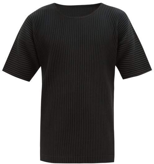 Issey Miyake Homme Plissé Homme Plisse Round Neck Pleated T Shirt - Mens - Black