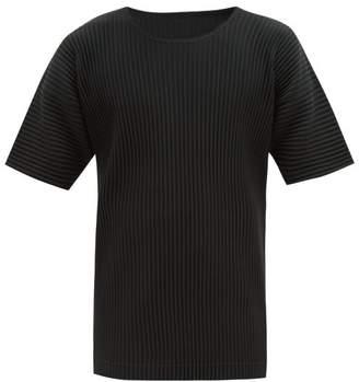 Issey Miyake Homme Plissé Homme Plisse Round-neck Pleated T-shirt - Mens - Black
