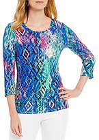 Investments Petite Essentials Printed 3/4-Sleeve Top