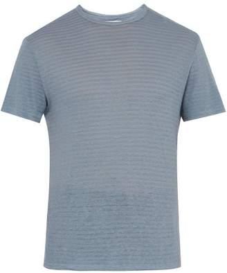 Officine Generale Striped Cotton And Linen-blend T-shirt - Mens - Blue