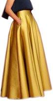 Lisong Women Floor Length Satin High Waist Prom Party Skirt 6 US