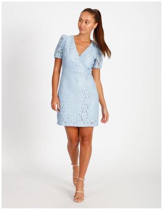Tokito Puff Sleeve Lace Mini Dress Smoke