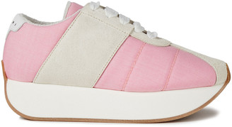 Marni Two-tone Suede And Canvas Sneakers