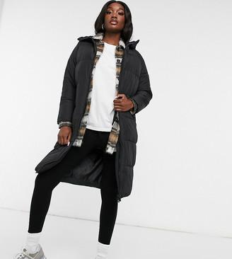 New Look Tall longline duvet puffer coat in black