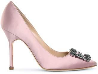 Manolo Blahnik Hangisi 105 pink satin pumps
