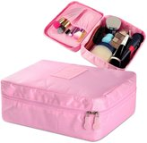 """Zodaca Grooming Travel Bag Organizer Cosmetic Carry Case Toiletry With Brush Holders (8.27"""" x 4.13"""" x 9.25""""), Dark Blue"""
