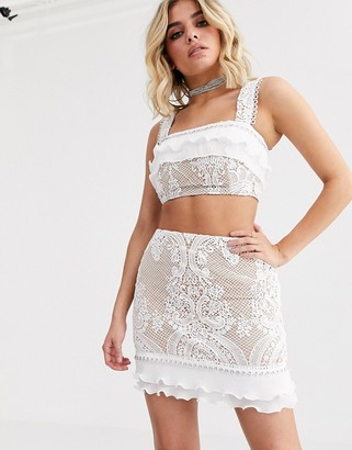 Rare London lace ruffle crop top with hardware detail in white