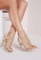 Missguided Rope Lace Up Gladiator Heeled Sandals Nude