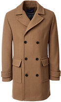 Lands' End Men's Tailored Fit Wool Double Breasted Overcoat-Graybird