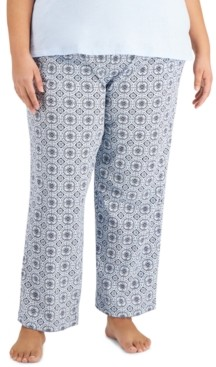 Charter Club Plus Size Cotton Knit Pajama Pants, Created for Macy's