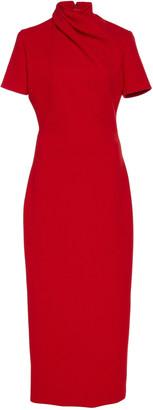 Brandon Maxwell Draped Wool-Crepe Midi Dress