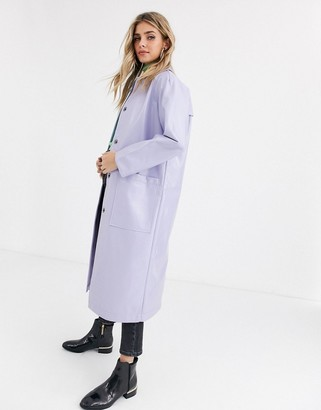 ASOS DESIGN patent trench coat in lilac