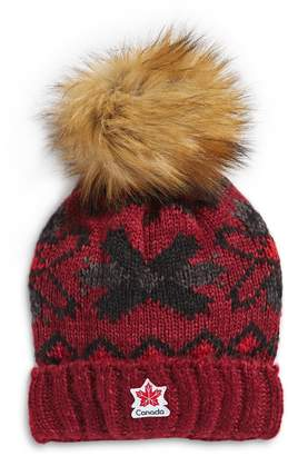 Canadian Olympic Team Collection Faux Fur Pom-Pom Tuque