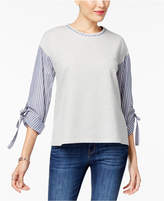 Style&Co. Style & Co Chambray Tie-Sleeve Top, Created for Macy's