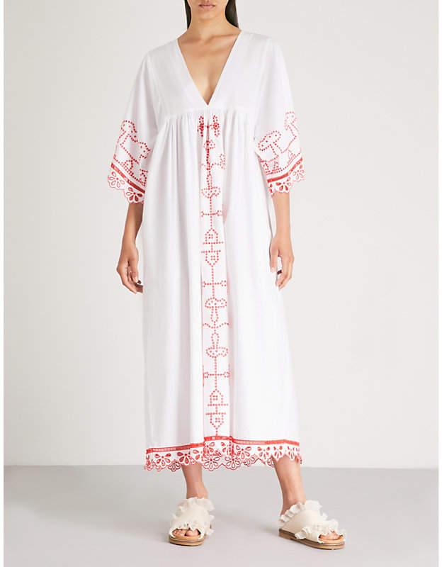 Ganni Peony embroidered cotton-poplin maxi dress