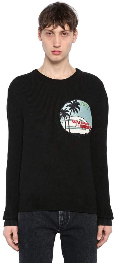 Saint Laurent Waiting For Sunset Patch Wool Sweater